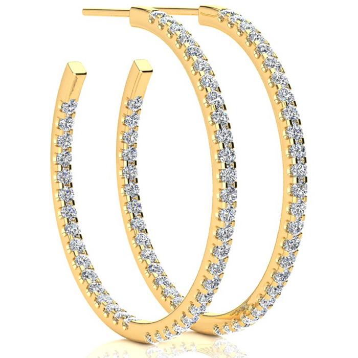 14K Yellow Gold 2 Carat Diamond Three Quarter Hoop