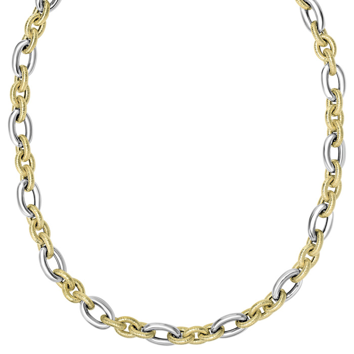 14 Karat Yellow & White Gold 18 Inch Textured & Shiny Fancy Chain Necklace