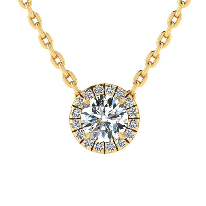 7/8ct Diamond Halo Center Of The Universe Necklace In 14K Yellow Gold