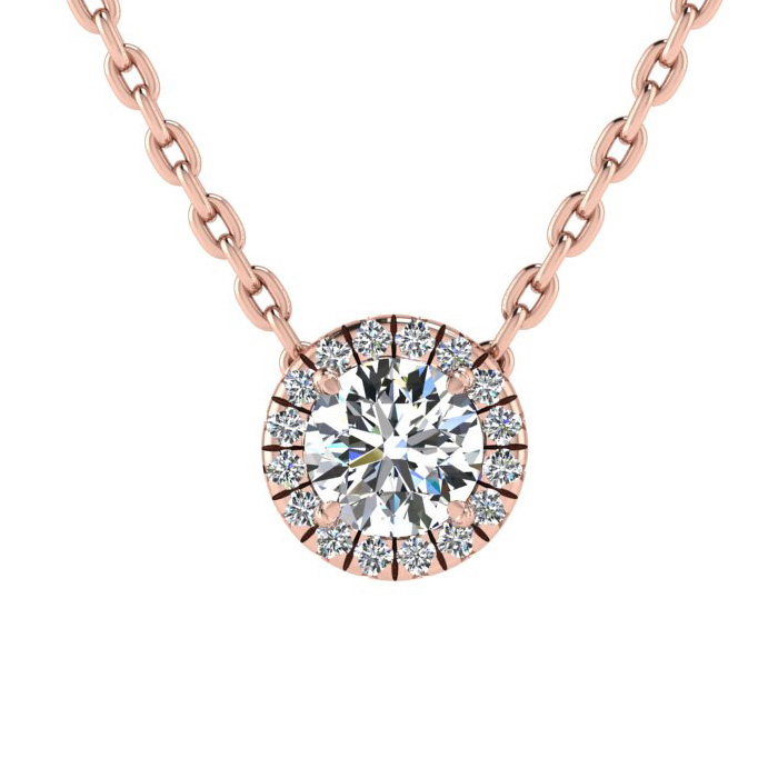 7/8ct Diamond Halo Center Of The Universe Necklace In 14K Rose Gold