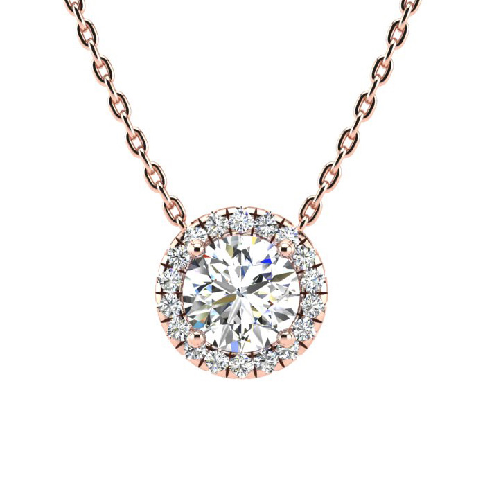 1 1/5ct Diamond Halo Center Of The Universe Necklace In 14K Rose Gold