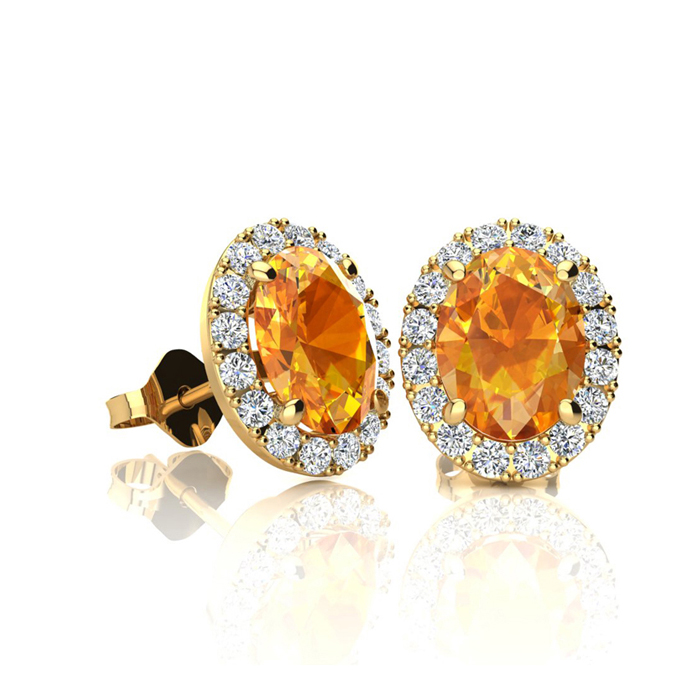 1 Carat Oval Shape Citrine and Halo Diamond Stud Earrings In 14 Karat Yellow Gold