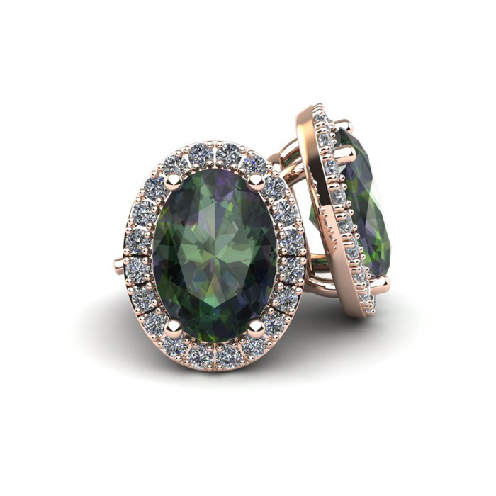 1 1/4 Carat Oval Shape Mystic Topaz and Halo Diamond Stud Earrings In 14 Karat Rose Gold