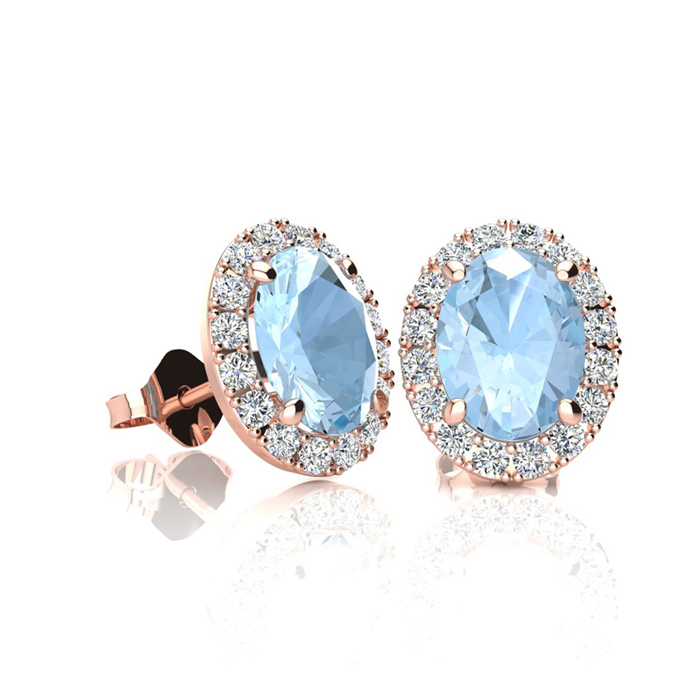 1 Carat Oval Shape Aquamarine and Halo Diamond Stud Earrings In 14 Karat Rose Gold