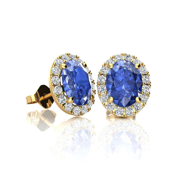 1 1/4 Carat Oval Shape Tanzanite and Halo Diamond Stud Earrings In 14 Karat Yellow Gold