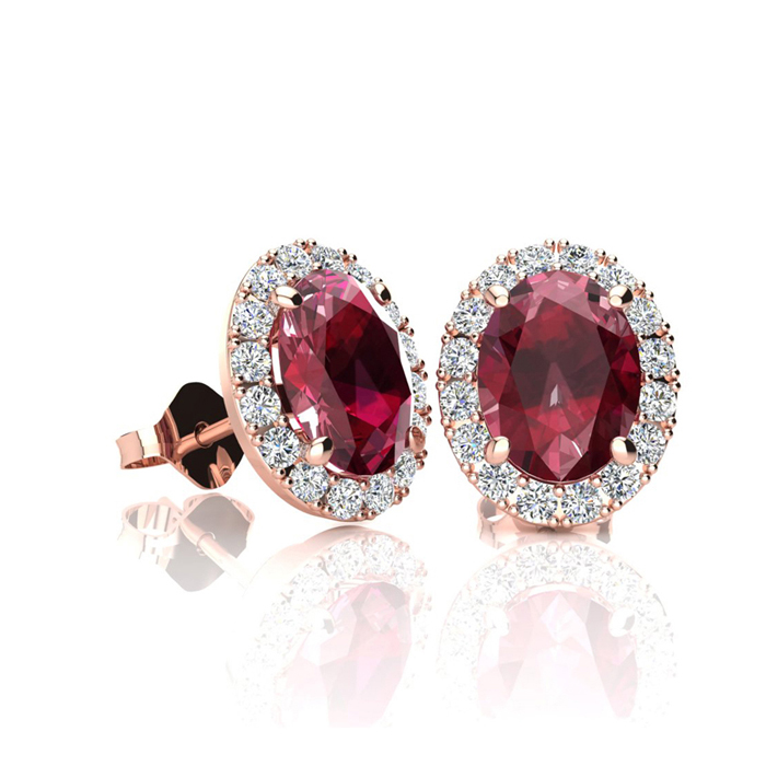 1 1/4 Carat Oval Shape Ruby and Halo Diamond Stud Earrings In 10 Karat Rose Gold