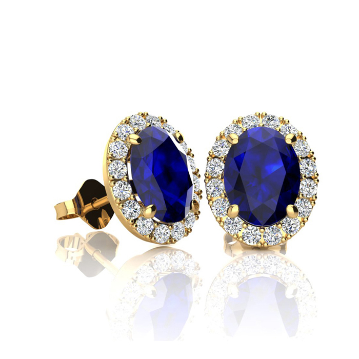 1 1/3 Carat Oval Shape Sapphire and Halo Diamond Stud Earrings In 10 Karat Yellow Gold