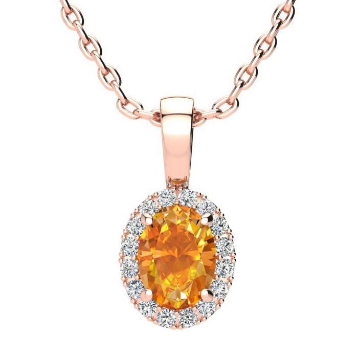 3/4 Carat Oval Shape Citrine and Halo Diamond Necklace In 10 Karat Rose Gold With 18 Inch Chain