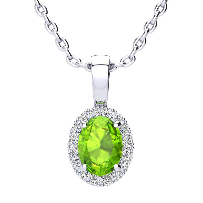 1 Carat Oval Shape Peridot and Halo Diamond Necklace In 14 Karat White Gold With 18 Inch Chain