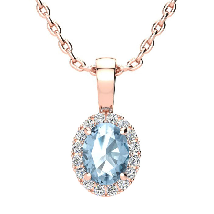 1 Carat Oval Shape Blue Topaz and Halo Diamond Necklace In 10 Karat Rose Gold With 18 Inch Chain