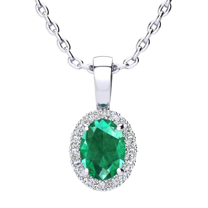 0.90 Carat Oval Shape Emerald and Halo Diamond Necklace In 14 Karat White Gold With 18 Inch Chain