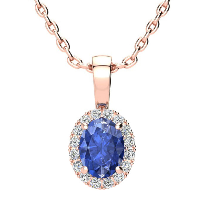 1 Carat Oval Shape Tanzanite and Halo Diamond Necklace In 14 Karat Rose Gold With 18 Inch Chain