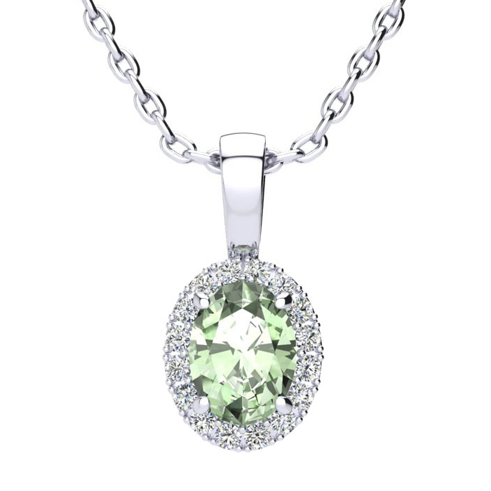 3/4 Carat Oval Shape Green Amethyst and Halo Diamond Necklace In 14 Karat White Gold With 18 Inch Chain