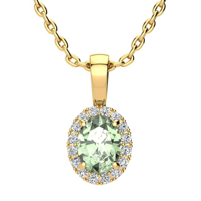 3/4 Carat Oval Shape Green Amethyst and Halo Diamond Necklace In 10 Karat Yellow Gold With 18 Inch Chain