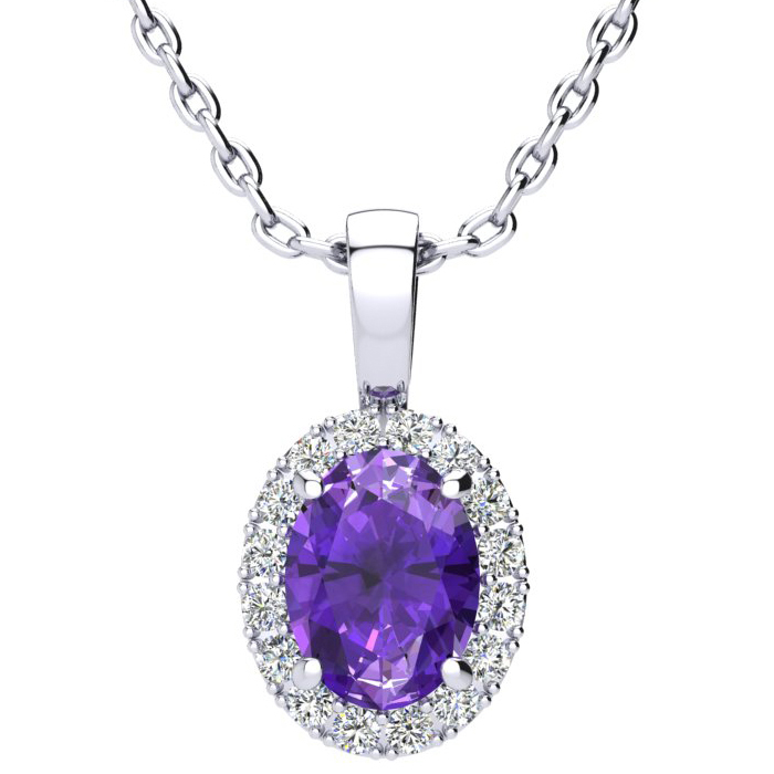 1 1/4 Carat Oval Shape Amethyst and Halo Diamond Necklace In 10 Karat White Gold With 18 Inch Chain