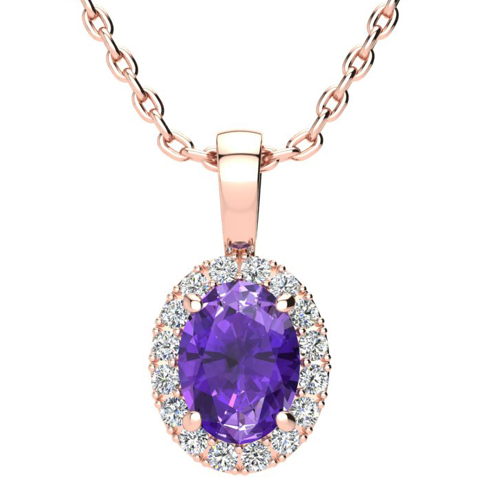 1 1/4 Carat Oval Shape Amethyst and Halo Diamond Necklace In 10 Karat Rose Gold With 18 Inch Chain