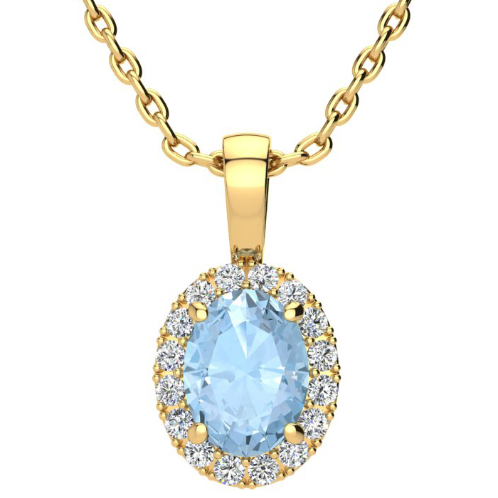 1 1/3 Carat Oval Shape Aquamarine and Halo Diamond Necklace In 10 Karat Yellow Gold With 18 Inch Chain
