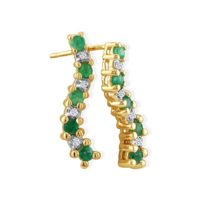 1/2ct Emerald and Diamond Journey Earrings in 10k Yellow Gold