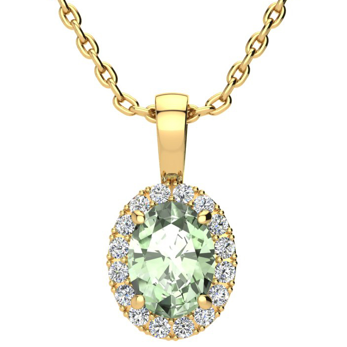 1 1/4 Carat Oval Shape Green Amethyst and Halo Diamond Necklace In 10 Karat Yellow Gold With 18 Inch Chain