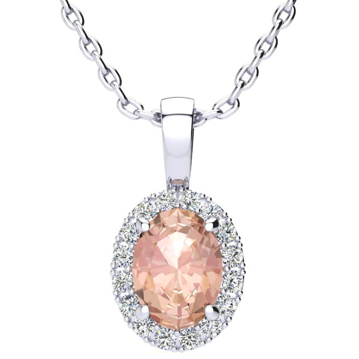1 1/3 Carat Oval Shape Morganite and Halo Diamond Necklace In 14 Karat White Gold With 18 Inch Chain