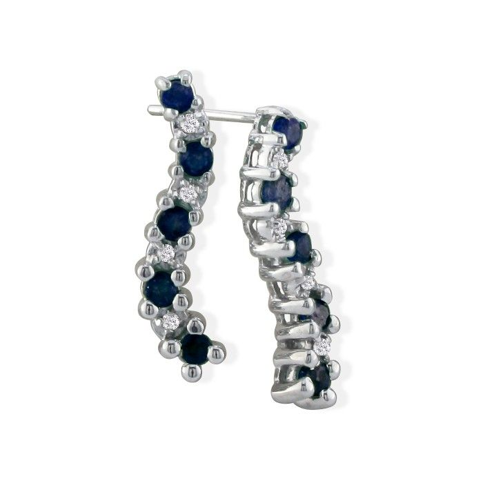 1/2ct Sapphire Journey Diamond Earrings in 10k White Gold