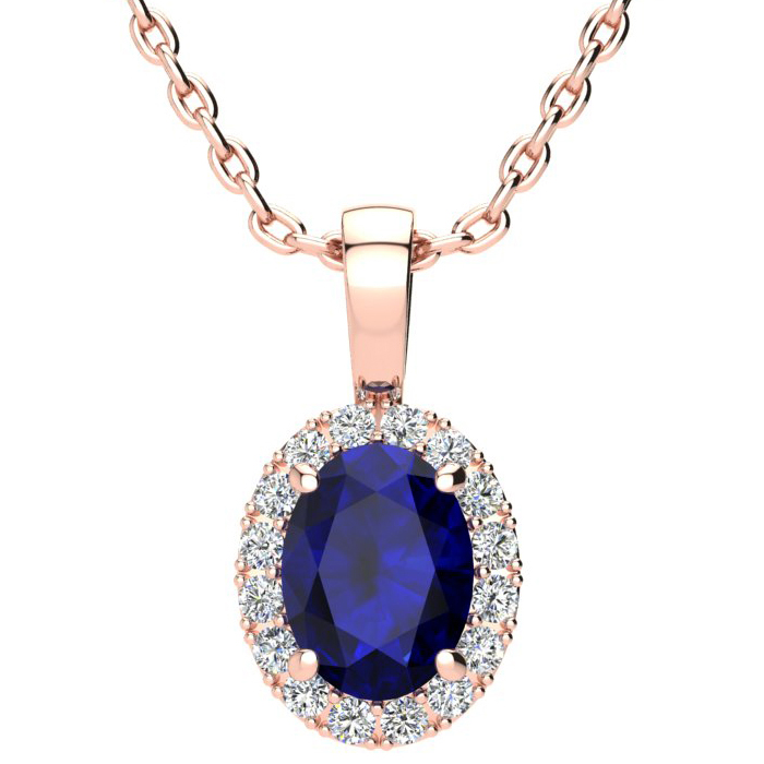 1 3/4 Carat Oval Shape Sapphire and Halo Diamond Necklace In 10 Karat Rose Gold With 18 Inch Chain
