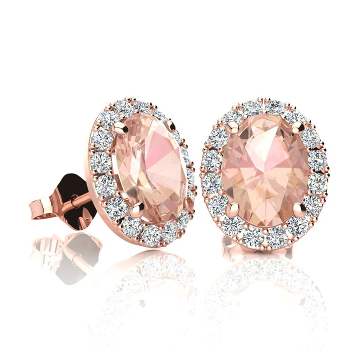 1 3/4 Carat Oval Shape Morganite and Halo Diamond Stud Earrings In 14 Karat Rose Gold