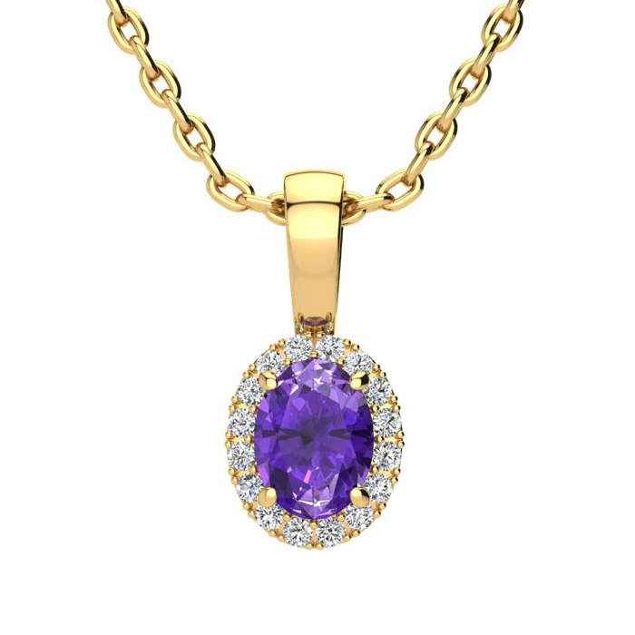 1/2 Carat Oval Shape Amethyst and Halo Diamond Necklace In 10 Karat Yellow Gold With 18 Inch Chain
