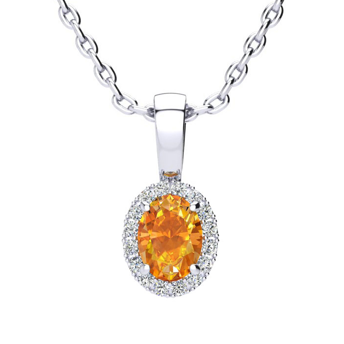 1/2 Carat Oval Shape Citrine and Halo Diamond Necklace In 14 Karat White Gold With 18 Inch Chain