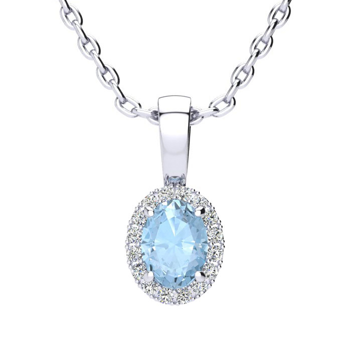 1/2 Carat Oval Shape Aquamarine and Halo Diamond Necklace In 10 Karat White Gold With 18 Inch Chain