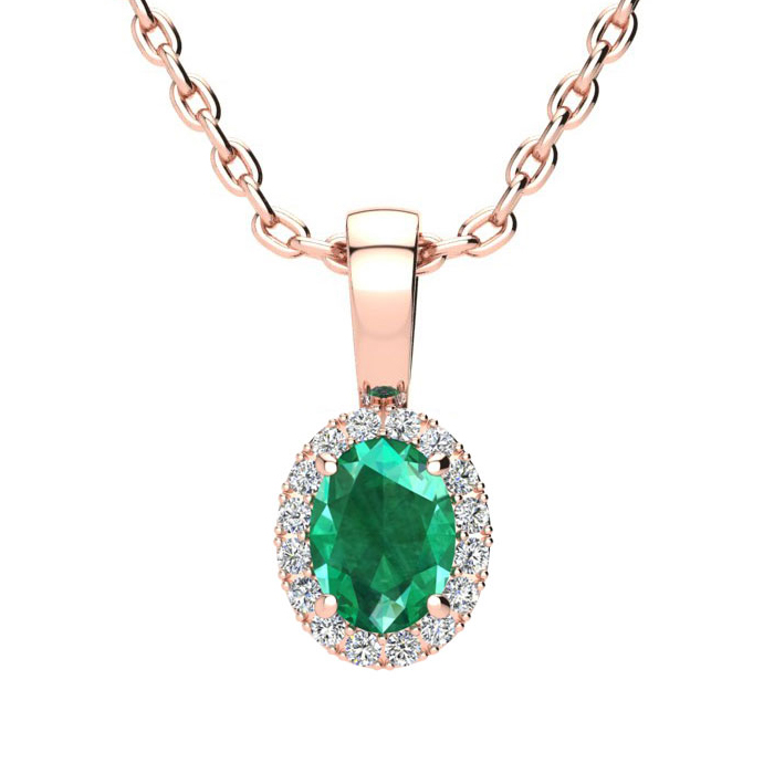 1/2 Carat Oval Shape Emerald and Halo Diamond Necklace In 14 Karat Rose Gold With 18 Inch Chain