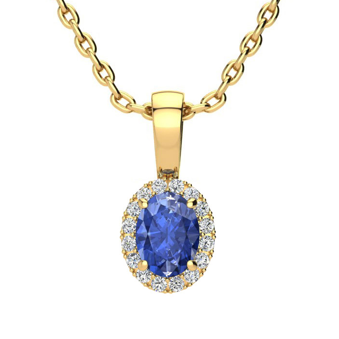 0.62 Carat Oval Shape Tanzanite and Halo Diamond Necklace In 14 Karat Yellow Gold With 18 Inch Chain