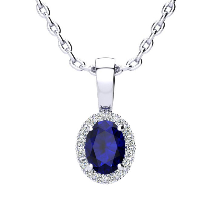 0.67 Carat Oval Shape Sapphire and Halo Diamond Necklace In 10 Karat White Gold With 18 Inch Chain