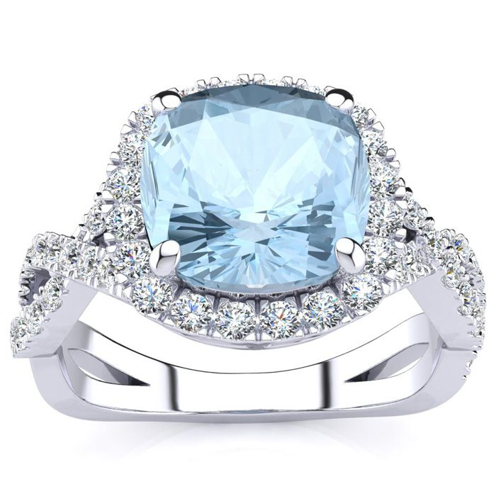 2 1/2 Carat Cushion Cut Aquamarine and Halo Diamond Ring With Fancy Band In 14 Karat White Gold
