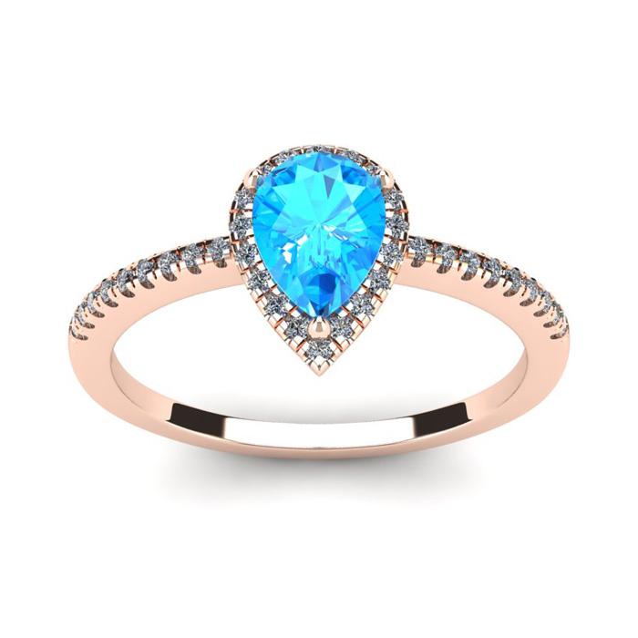 1 Carat Pear Shape Blue Topaz and Halo Diamond Ring In 14 Karat Rose Gold