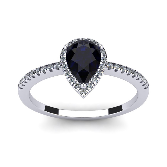 1 Carat Pear Shape Sapphire and Halo Diamond Ring In 14 Karat White Gold