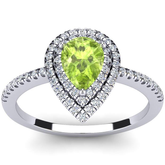 1 Carat Pear Shape Peridot and Double Halo Diamond Ring In 14 Karat White Gold