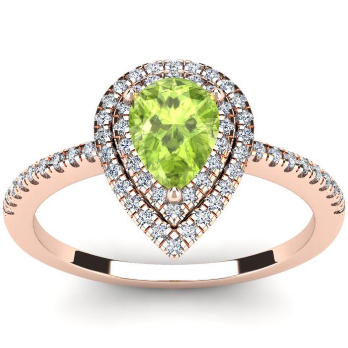 1 Carat Pear Shape Peridot and Double Halo Diamond Ring In 14 Karat Rose Gold