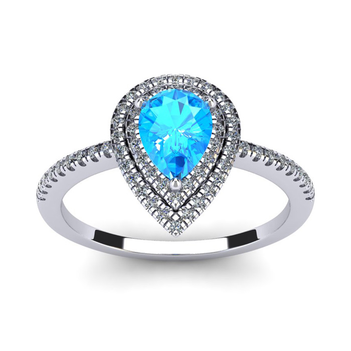 1 1/5 Carat Pear Shape Blue Topaz and Double Halo Diamond Ring In 14 Karat White Gold