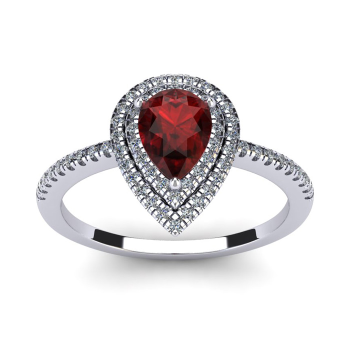 1 1/5 Carat Pear Shape Garnet and Double Halo Diamond Ring In 14 Karat White Gold