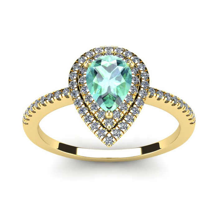 1 Carat Pear Shape Green Amethyst and Double Halo Diamond Ring In 14 Karat Yellow Gold