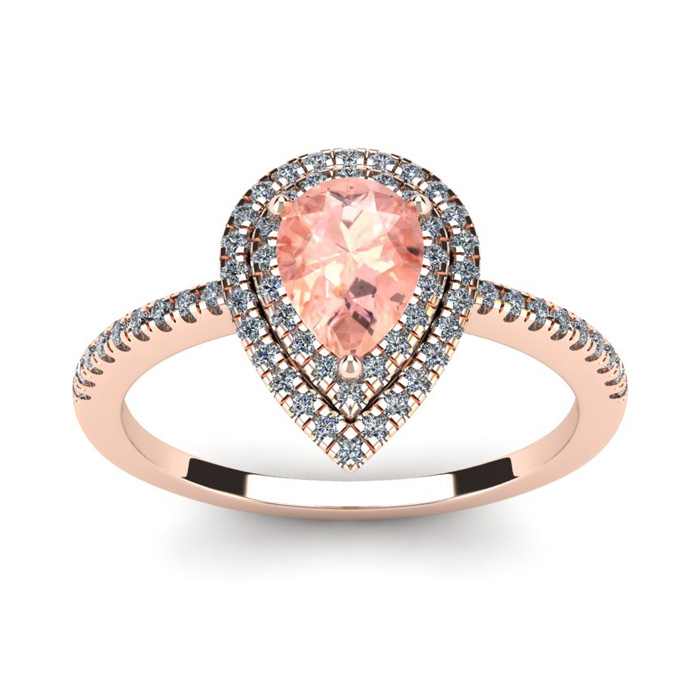 1 Carat Pear Shape Morganite and Double Halo Diamond Ring In 14 Karat Rose Gold