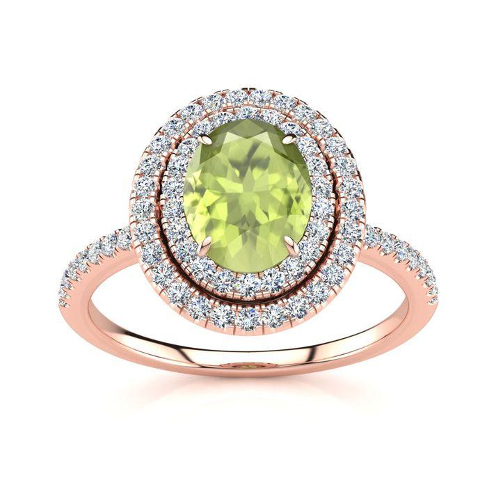 1 3/4 Carat Oval Shape Peridot and Double Halo Diamond Ring In 14 Karat Rose Gold