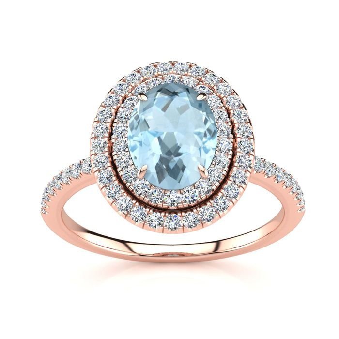 1 1/2 Carat Oval Shape Aquamarine and Double Halo Diamond Ring In 14 Karat Rose Gold