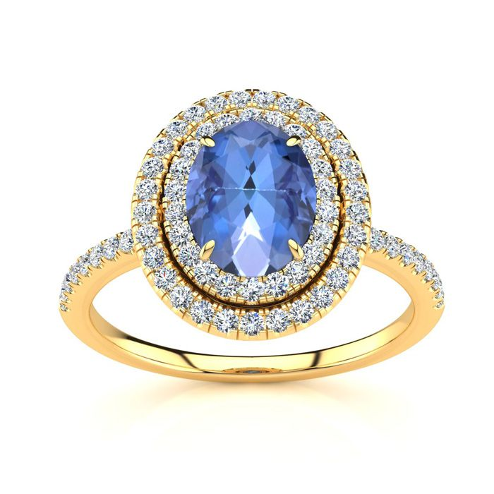1 1/2 Carat Oval Shape Tanzanite and Double Halo Diamond Ring In 14 Karat Yellow Gold