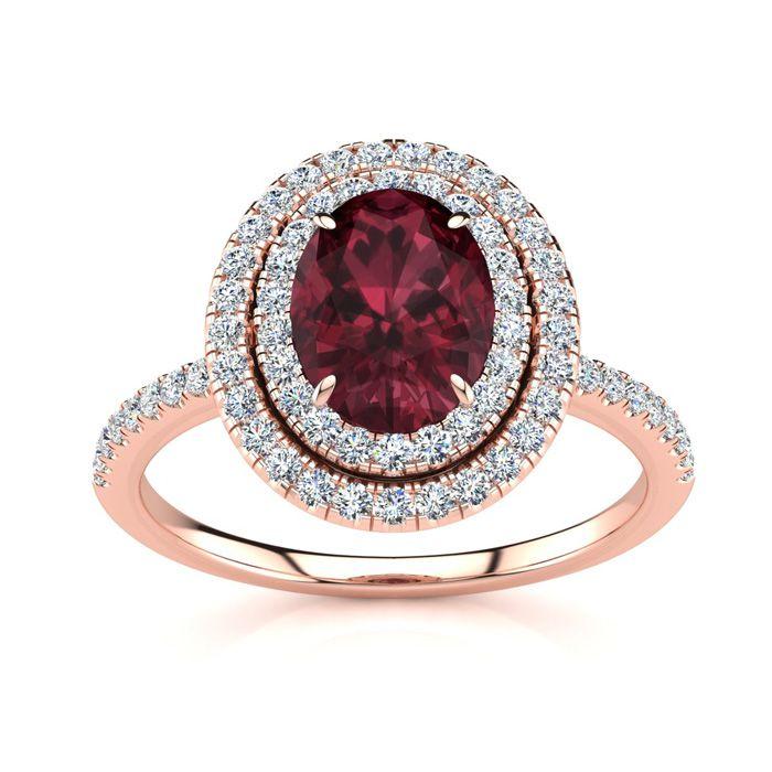 1 3/4 Carat Oval Shape Garnet and Double Halo Diamond Ring In 14 Karat Rose Gold