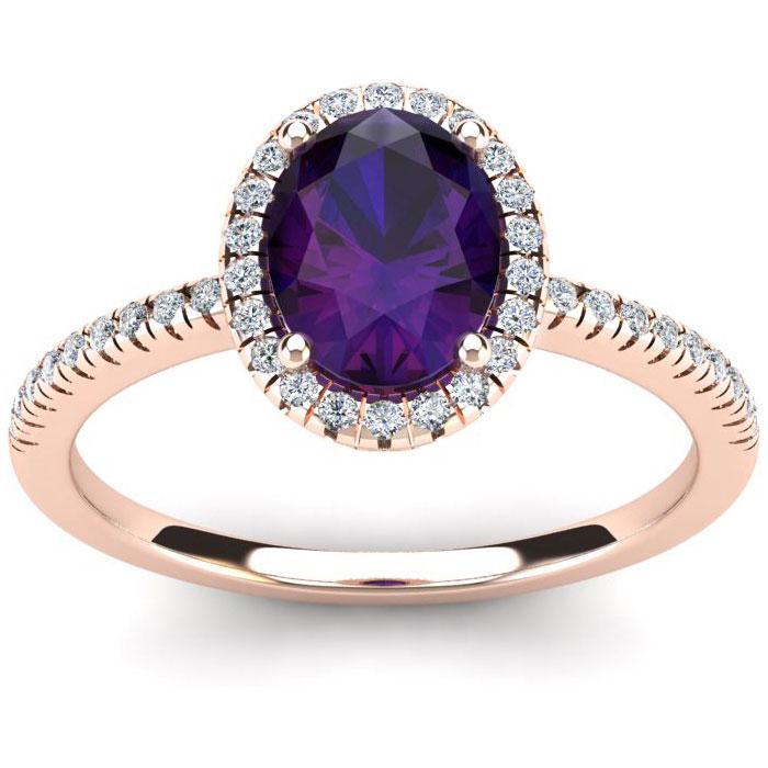 1 1/4 Carat Oval Shape Amethyst and Halo Diamond Ring In 14 Karat Rose Gold