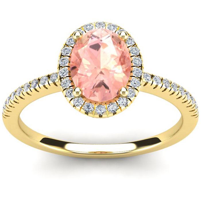1 1/3 Carat Oval Shape Morganite and Halo Diamond Ring In 14 Karat Yellow Gold