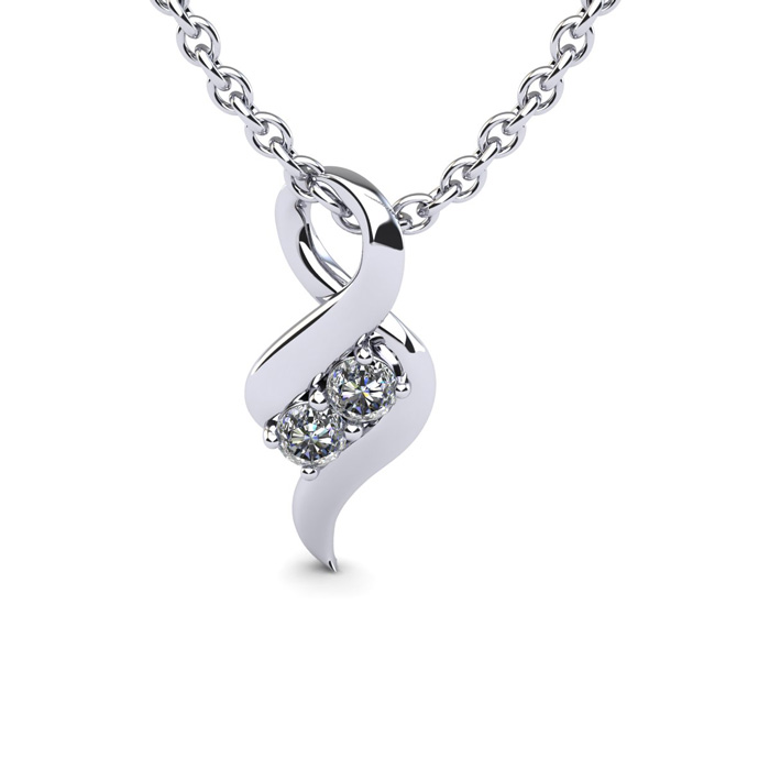1/4 Carat Two Stone Diamond Intertwined Necklace In 14K White Gold