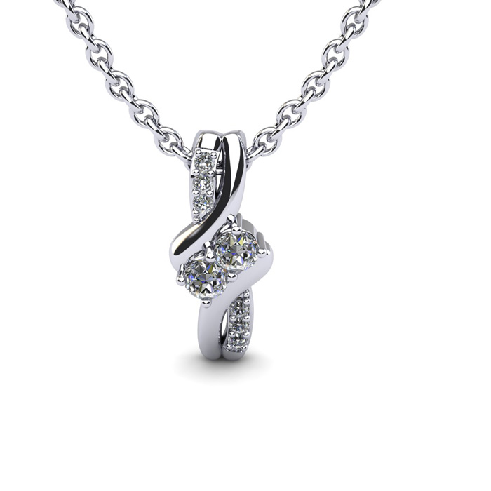 1/4 Carat Two Stone Diamond Knot Necklace In 14K White Gold